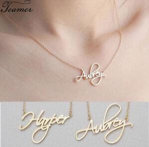 Personalized Custom Cursive Handwritten Name Nameplate Pendant Necklace Jewelry