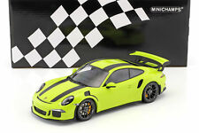 Porsche 911 (991) GT3 RS Year 2015 Acid Green with Black Strips 1:18 Min