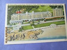 VINTAGE POST CARD NEW OCEAN HOUSE SWAMPSCOTT MASS SHOWING BEACH AND ROCKS UNUSED