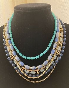 STELLA & DOT Sutton Stone Necklace Blue Green And Gold