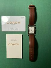 Coach Women's Swiss Made W514 White Dial W/Date Stainless Steel Leather Watch