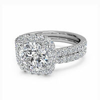 1.60 Ct Diamond Engagement Rings 14k White Gold Round Cut Halo VVS1/D Size M P