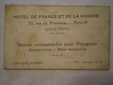 ANTIQUE WWI WORLD WAR I ERA PARIS FRANCE HOTEL de la HAVANE BUSINESS CARD