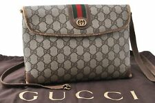 Authentic GUCCI Web Sherry Line Shoulder Bag GG PVC Leather Brown A8118