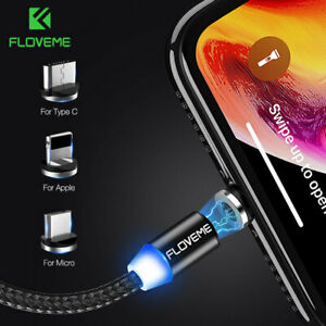 FLOVEME LED Magnetic Micro Type C Charger USB Cable For iphone 11 Samsung Huawei