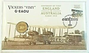 2019 $1 FIRST ENGLAND TO AUSTRALIA FLIGHT CENTENARY VICKERS VIMY G-EAOU PNC