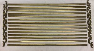 "Set of 14 Vintage Solid Brass 29"" Long Stair Rods with 28 Angled Fixing Brackets"