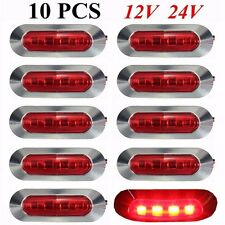 10x Waterproof 4 LED Red Side Marker Light Lamp Truck Trailer Indicator 12/24V