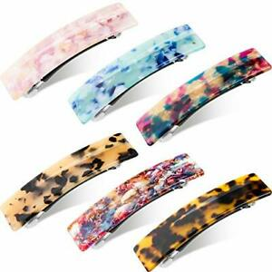 6 Pieces Cellulose Acetate Hair Barrettes for Women Ladies French Design Rect...