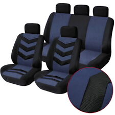 9Pcs/set Car Seat Cover Auto Leather Protector All Season Blue + Headrest Cover