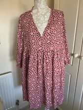 Spotty Oversized Dress 16 Pink Black New