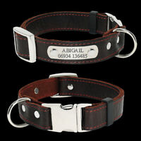 Soft Leather Personalised Dog Collars with Nameplate Engraved Laser Metal Buckle