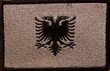 Albania Flag Embroidered Iron-On Patch Military Gray Version Black Border