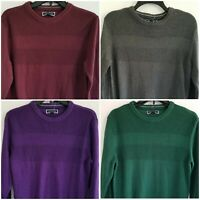 Club Room Mens Small Solid Textured Cotton Crew Neck Pullover Sweater