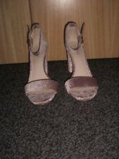 """Ladies size 7(9M) light pink textured velvet 3.75"""" block heel sandals Nine West"""