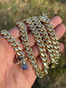 Men's Miami Cuban Link Chain 14k Gold Vermeil Solid 925 Silver Box Clasp 10mm