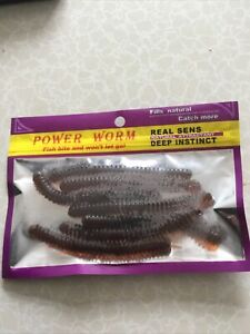 """Sea Fishing Lures Bass Cod Pollock  Natural 4"""" Scented Lug Worm Soft Jelly"""
