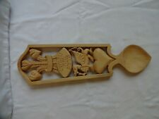 """LARGE WELSH LOVE SPOON PRINCE OF WALES FEATHERS & DRAGON """"WALES FOREVER"""" 36 cm"""