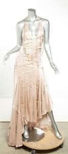 ROBERTO CAVALLI Blush Nude SILK Feather Stone Fringe Whipstitch Gown Dress 6-42