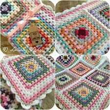 Girls Handmade Knitted Crochet Granny Squares Baby Blanket 75 cm buggy crib cot