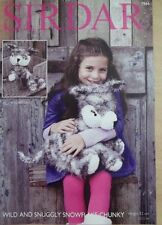 FLUFFY HUSKY DOG TOY KNITTING PATTERN FOR SIRDAR WILD & SNOWFLAKE CKY YARN 7966