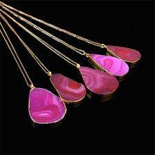 Magic Agate Druzy Emperor Quartz Stone Natural Gold Pendant Necklace Jewelry XR Orange