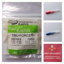 T P Orthodontic Bands Tru-Force Elastic  Lime. + 2 Interdental Brushes Free UK
