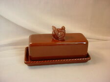 Covered Turkey Butter Dish Brown Ceramic by Tag