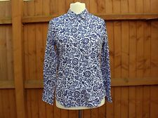 Ladies Office Smart Wear Long Sleeves White Blue Floral Size 12 New