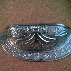 "Ornate Detailed Brushed Nickel Drawer Pull Vintage Style Cup Bin Pull,2-1/2"" C2C"
