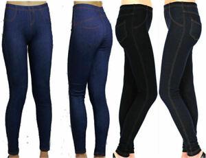 VR7 Ladies Womens Stretchy Denim Look Skinny Jeggings Leggings Plus Size 8-26 UK