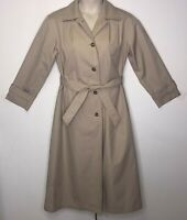 Brooks Brothers Khaki Tan Woman's Trench Coat Button Up With Belt. Size 10R