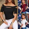 Women Hollow Tunic Shirt Cold Shoulder Tops Short Sleeve T Shirt Slim Tee Blouse