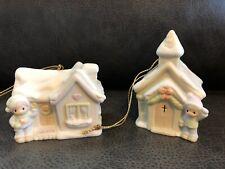 Precious Moments~2 Sugar Town Ornaments~Sam's House #530468 & Chapel #530484