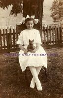 4x6 Photo Print of Beautiful Little Girl Child Sits with Tiny Kitten Cat on Lap