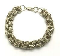 Vintage Sterling 925 Twisted Rope - Rolo Link Multi Circle Chain Tennis Bracelet