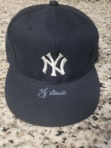 Vintage New York Yankees Signed Hat Yogi Berra Auto CLEAN