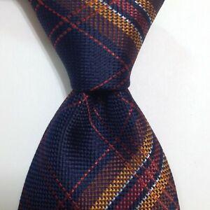 MARCO FONTANA Men's Silk Necktie ITALY Designer PLAIDS/CHECKS Blue/Orange EUC