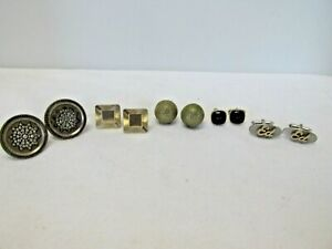 "Lot of 5 Vintage Cuff Links, Swank , Red Glass, ""ED"", Silver Toned & More #40G"