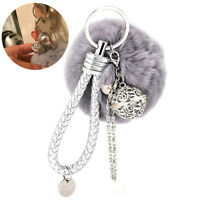 1pc Pom Pom Keychain Plush Ball Keyring Fluffy Car Hanging Ornament Bag Pendant