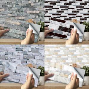 9pcs Mosaic Self Adhesive Tile Backsplash Bathroom Kitchen Wall Vinyl Stickers