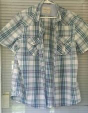 American Eagle Mens S/S Cotton Blue Plaid Western Pearl Snap Shirt Size XLarge