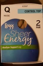 New L'eggs Women's 2-Pairs Sheer Energy Pantyhose, Size: Q Nude Color