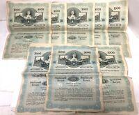 Lot of 8 - AUSTRIA 1917 Bond Certificate - World War 1 Era, With Actual Coupons