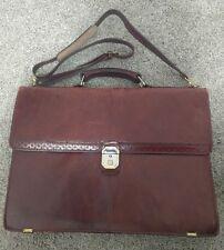 "Vtg Renwick 16"" Expandable Leather Attache Case Briefcase Distressed w/ Strap"