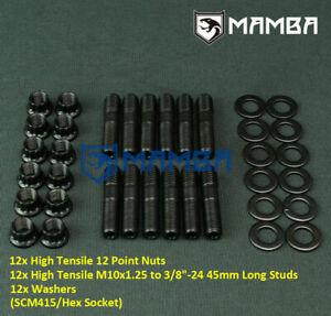 Mamba 12 sets Stud Kit M10x1.25 Turbo Manifold Extractors 6 Cyl For TD42 GU GQ