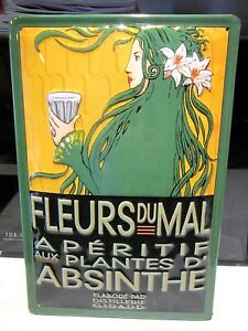 """ABSINTHE FLEURS , EMBOSSED(3D)  VINTAGE-STYLE SIGN, 12""""X 8"""", 30x20cm, FRENCH"""