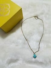 Kendra Scott Vintage Pendant Turquoise Gold Tone Necklace W/ Box