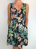 PORTMANS floral zip front sleeveless fit flare dress size 10 has pockets