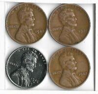 Rare Old 1941 1942 1943 1944 WWII US Steel Copper Penny Coin Vintage War SET U58